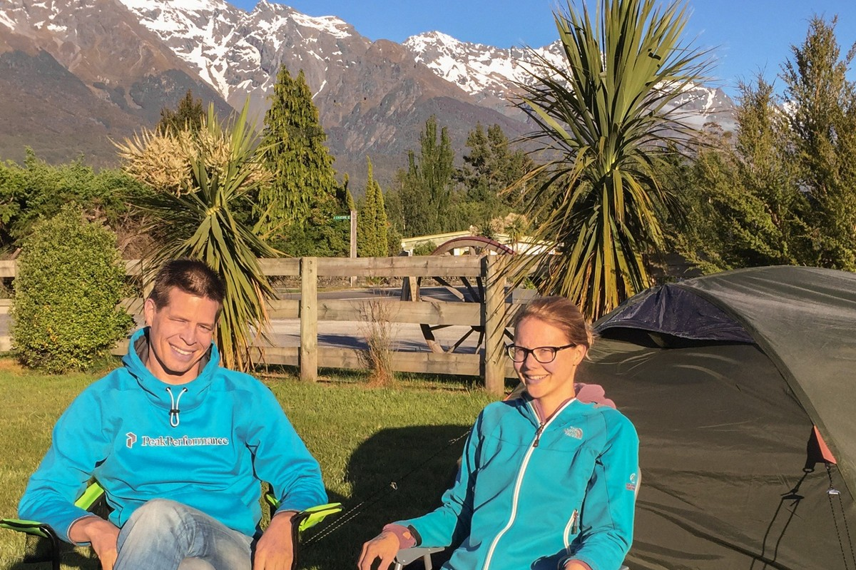 Our first campers Roger and Evelyn from the Netherlands